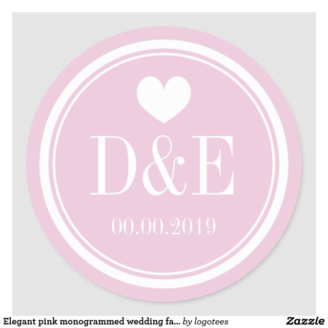 Elegant pink monogrammed wedding favour stickers
