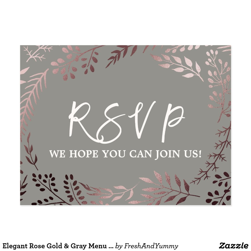 Elegant Rose Gold and Grey Menu Choice RSVP