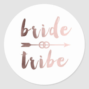 elegant rose gold bride tribe arrow wedding rings classic round sticker