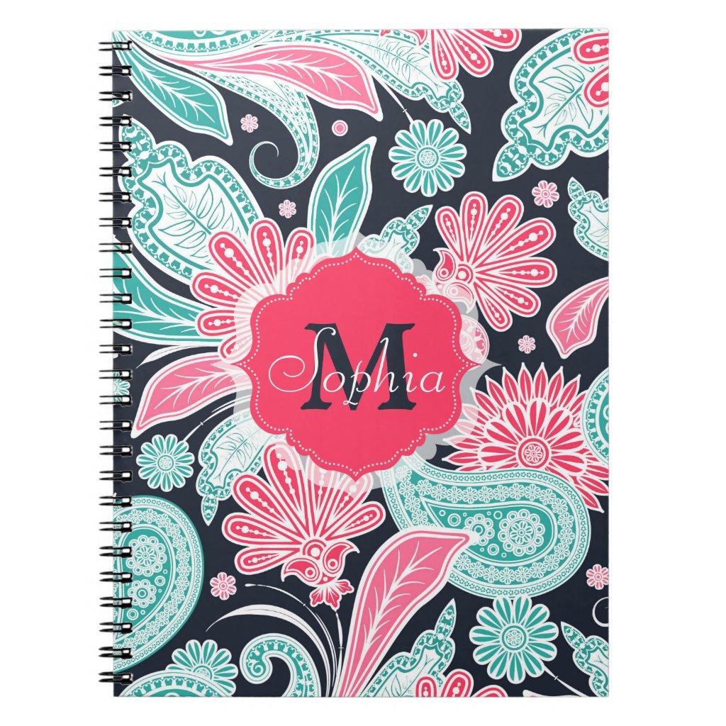 Elegant trendy paisley floral pattern illustration notebook