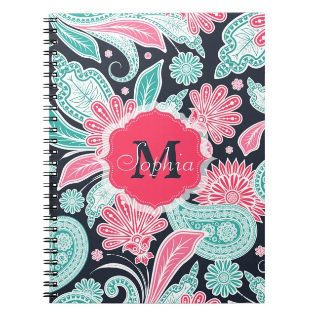 Elegant trendy paisley floral pattern illustration notebook