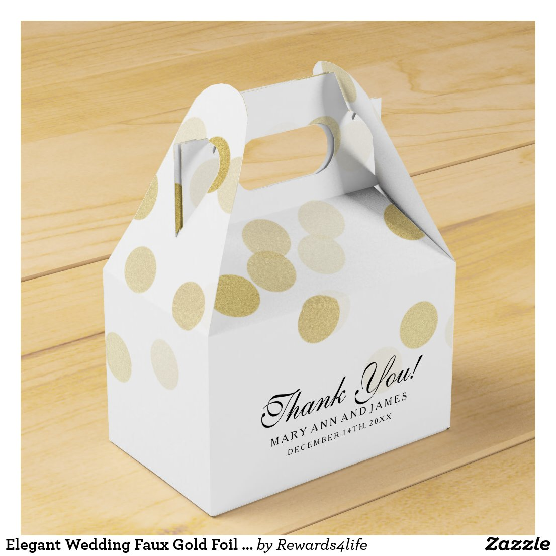 Elegant Wedding Faux Gold Foil Glitter Lights Favour Box