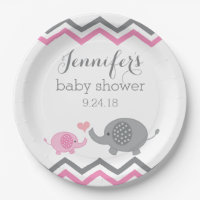 Elephant Baby Shower Plates | Pink Gray Chevron 9 Inch Paper Plate