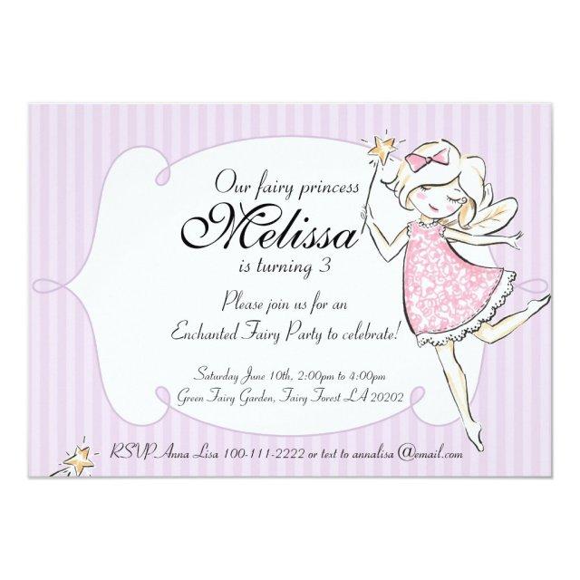 Enchanted Fairy Princess Birthday Party Invitation