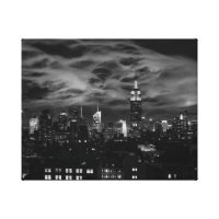 Ethereal Clouds: NYC Skyline, Empire State Bldg BW Canvas Print