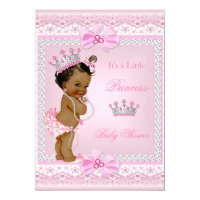 Ethnic Princess Baby Shower Girl Pink Pearls Tiara Card