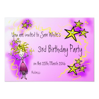 Fairy invitation card little girls birthday party