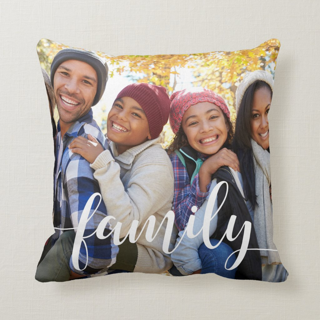 Family Script Photo Cushion