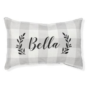 Farmhouse Grey Buffalo Check Monogram Pet Bed