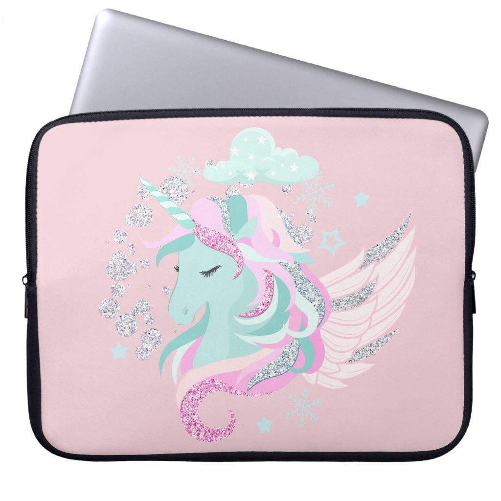 Faux Glitter Unicorn Laptop Sleeve