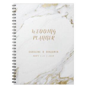 Faux gold marble luxury modern wedding planner notebook