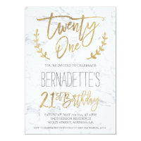 Faux gold typography feathers marble 21st Birthday Card