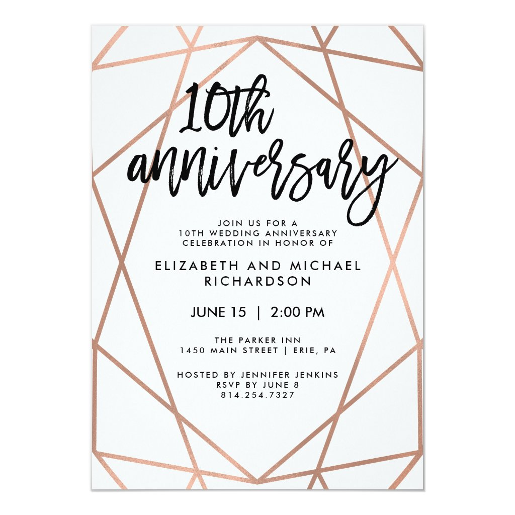 Faux Rose Gold Geometric 10th Wedding Anniversary