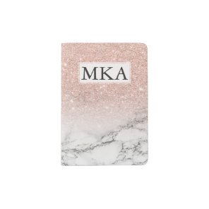 Faux rose pink glitter ombre white marble monogram passport holder