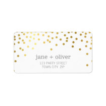 FESTIVE LABEL modern confetti spot gold foil gray Address Label