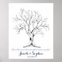 Fingerprint wedding guest book tree hand drawn poster