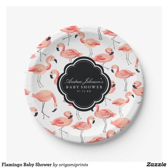 Flamingo Baby Shower Paper Plate
