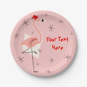 Flamingo Santa Pink Text paper plate