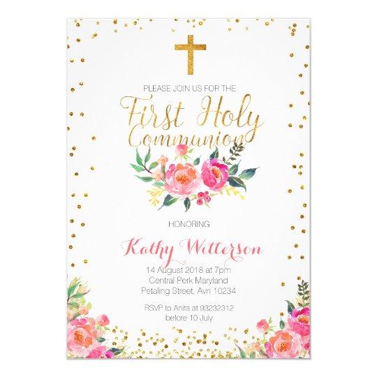 Pink Christening Invitation