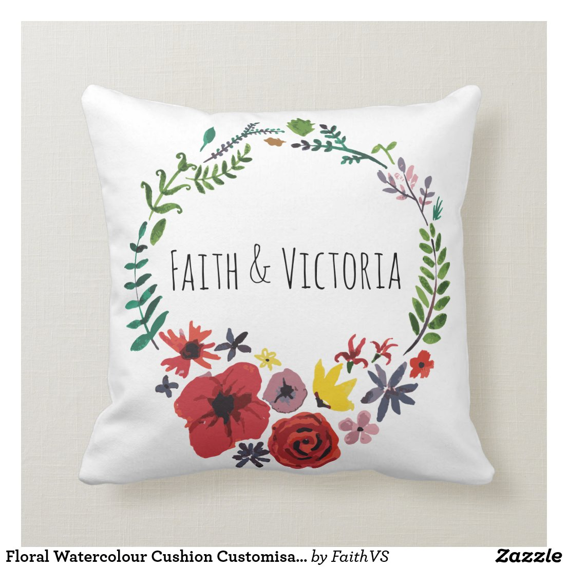 Floral Watercolour Cushion