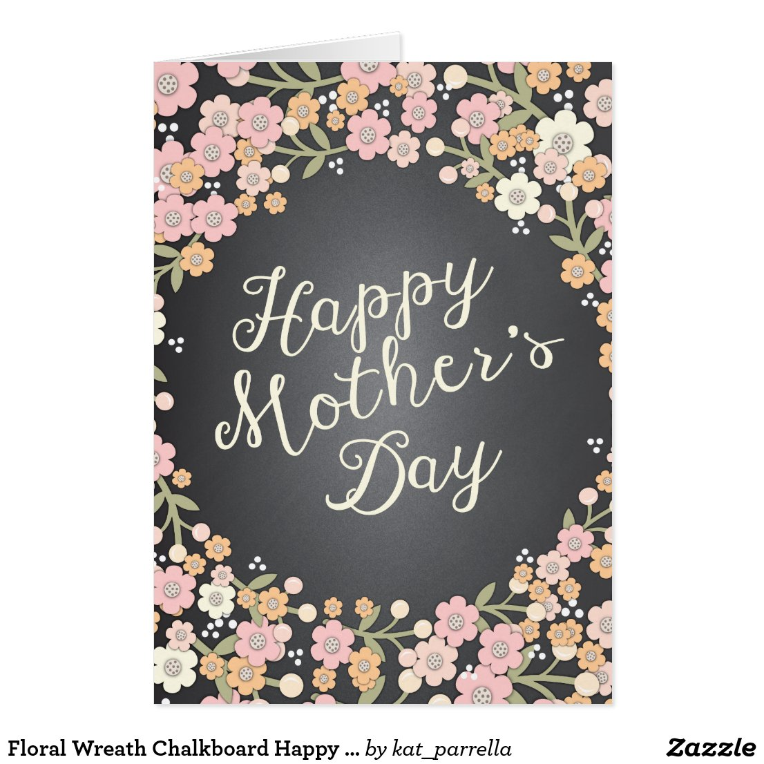 Floral Wreath Chalkboard Happy Mother's Day Card