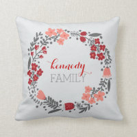 Floral Wreath Personalized Monogram Pillows