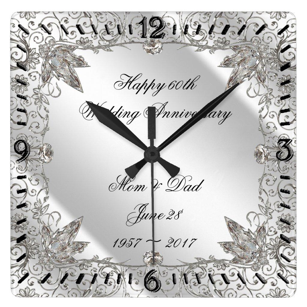 Flourish Diamond 60th Wedding Anniversary Clock