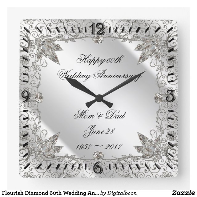 Flourish Diamond 60th Wedding Anniversary Clock
