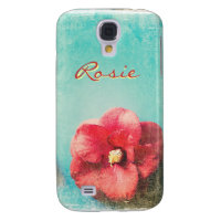 Flower on turquoise background Samsung Galaxy S4 Galaxy S4 Cases