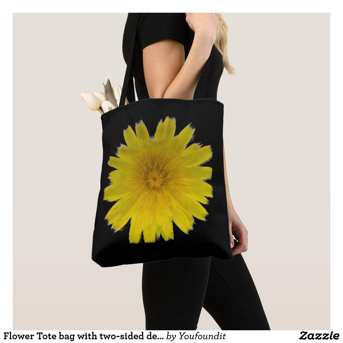 Flower Tote bag with two-sided design