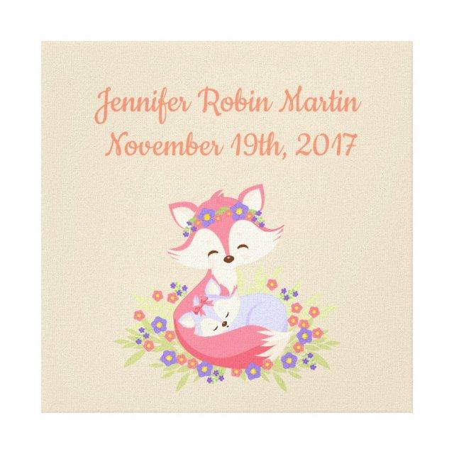 Fox Mummy & Baby Girl Canvas Print
