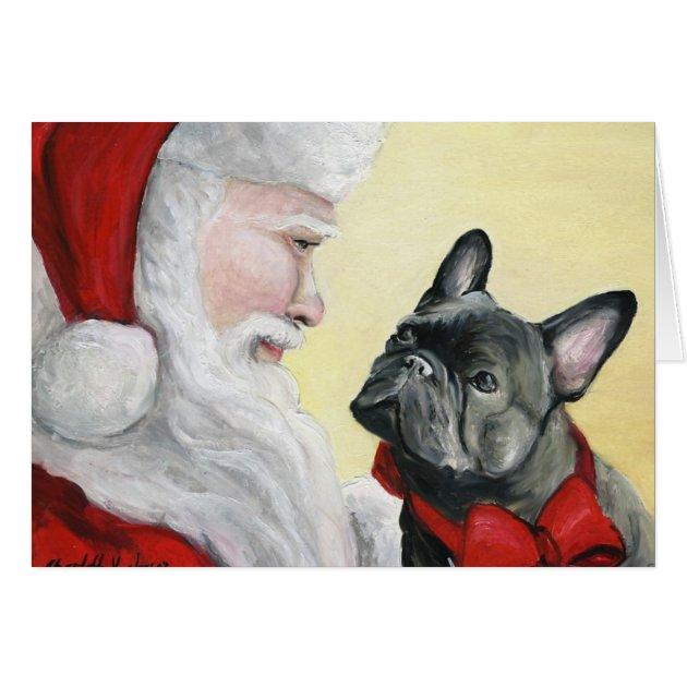 French Bulldog On Santas Lap Christmas Card Zazzle