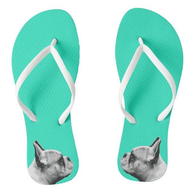 Frenchie Love / French Bulldog   Aqua Coloured Flip Flops