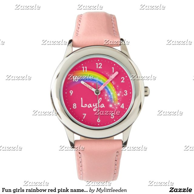 Fun girls rainbow red pink name wrist watch