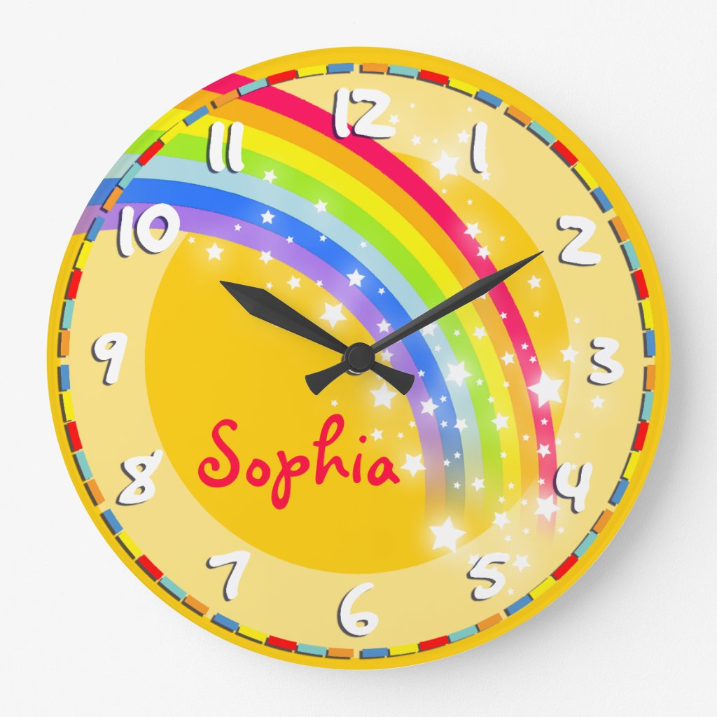 Rainbow name wall clock