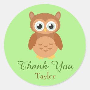 Fun Owl Customise Thank You Classic Round Sticker