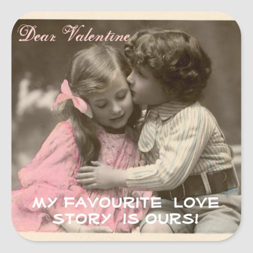 Funny Valentines Vintage Boy Kissing Girl Zazzle