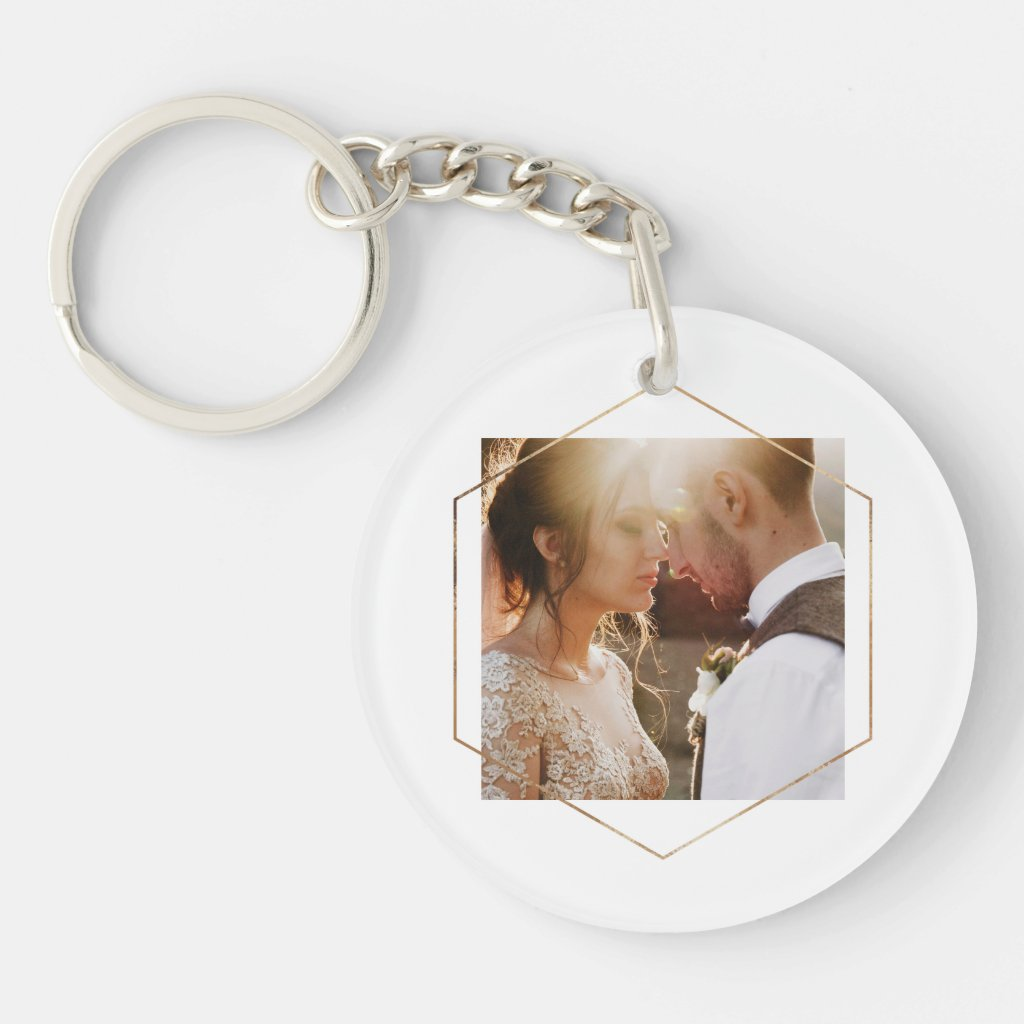 Geometric | Your Personal Photo with Gold Key Ring