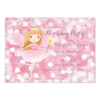 Girls Fairy Princess Birthday Party Card