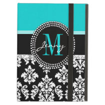 Girly Aqua Black Damask Your Monogram Name iPad Air Cover