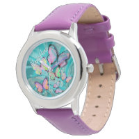 Girly Butterfly Watch! Add Her Name! Wrist Watch