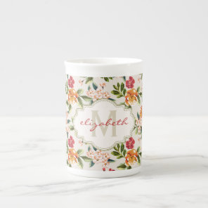 Girly Chic Floral Pattern with Monogram Name Tea Cup