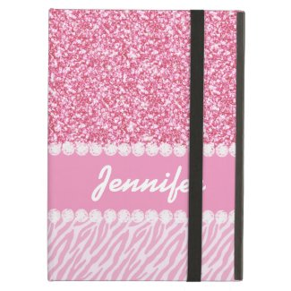 Girly, Pink Glitter, Zebra Stripes, Your Name