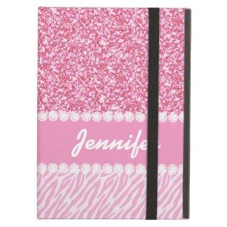 Girly, Pink Glitter, Zebra Stripes, Your Name