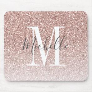 Girly Rose Gold Blush Pink Glitter Monogram Name Mouse Mat