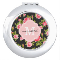 Girly Vintage Roses Floral Monogram Makeup Mirror