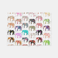Floral Elephants Pattern Fleece Blanket