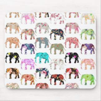 Girly Whimsical Retro Floral Elephants Pattern Mouse Mat