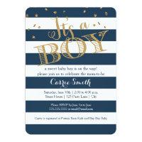Glam Navy Rugby Stripe Boy Baby Shower Invitation