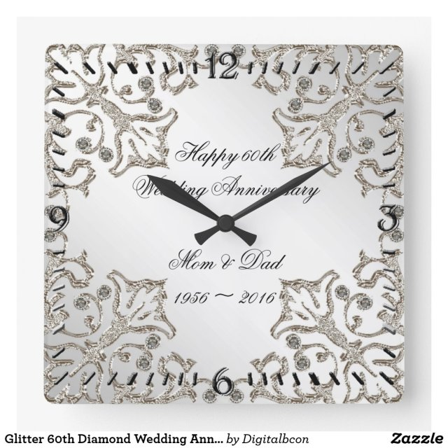 Glitter 60th Diamond Wedding Anniversary Clock